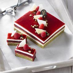 gateau framboises-pistaches-chocolat blanc