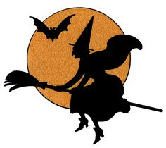Halloween Moon Clip Art | Vintage Halloween Clip Art - Witch with Moon - The Graphics Fairy