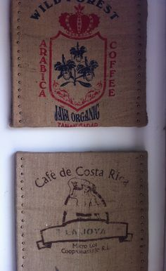 Burlap Coffee Bags art. I like how these are mounted.
