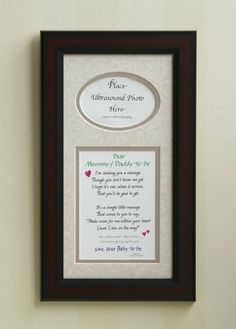 """Mommy and Dadddy to Be Ultrasound Picture Frame 7x14 Mom Gift by All Things For Mom. $27.99. Solid wood frame (cherry color), mat color: taupe. personalized option in our amazon shop (http://www.amazon.com/shops/allthingsformom). dimensions: 7x14 frame.  Opening for photo is 3"""" H x 4.5"""" W.  If your photo is smaller, you can mount it on cardstock (black looks nice).. high quality mat with calligraphy, cute poem (see poem wording in product description below). 7x14 frame with sawt..."""
