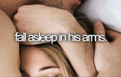 fall asleep in his arms