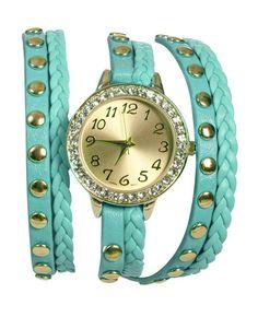 Pretty turquoise wrap bracelet watch