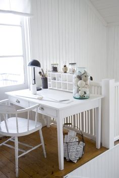 *white on white, light and bright   work space at the cottage
