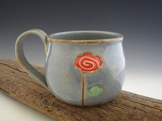 Pottery Mug in Rustic Blue with Single Rose by DirtKickerPottery, $32.00