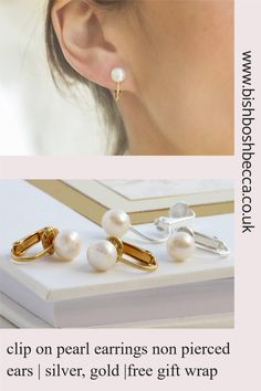 Adored by brides for their chic sophistication and timeless appeal, these Classic Freshwater Pearl Clip-On Bridal Earrings coordinate effortlessly with all bridal gowns. Clip On Pearl Earrings, Bridal Earrings, Women's Earrings, Earrings Handmade, Handmade Jewelry, Earring Display, Pearl Studs, Cultured Pearls, Ear Piercings