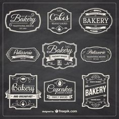 Dibujado a mano insignias de panadería