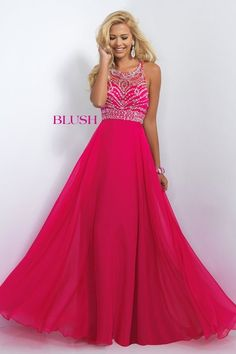 Classic Blush Prom style that is romantic and flattering! This gorgeous gown features a sheer mesh bodice and jewel neckline that dips into a modern razor back embellished with clear stones and sequins. The modified A-line skirt is crafted of flowing chiffon layers that beautifully fall to the floor. Side zipper closure. Available in Coral Pink, Pool, and Sapphire.