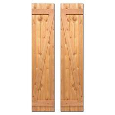 Design Craft MIllworks 15 in. x 52 in. Board-N-Batten Baton Z Shutters Pair Natural Cedar