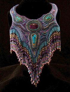 Beautiful embroidered jewelry by Dixie Gabric Click on link to see more - http://beadsmagic.com/?p=6084 #beadedjewelry