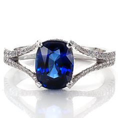 Royal Blue from Knox Jewelers is a stunning engagement ring shown here with a 2.00ct Cushion cut blue sapphire. It features a split shank done in micro pave.