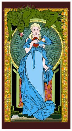 """Game of Thrones Khaleesi Mother of Dragons art by BobMasseStudios, $23.00  This art nouveau-inspired poster by Bob Masse depicts the Games of Thrones character, Khaleesi, the Mother of Dragons.  The print is on medium coated stock, signed by Masse in silver ink, unframed, and will be shipped rolled in a strong mailing tube. 24"""" x 13.5"""""""