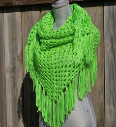 Triangle Scarf Shawl in Lime Green Crochet by CandacesCloset, $50.00