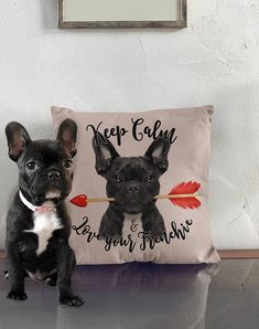 Valentine's gift Perfect Christmas gift Frenchie french bulldog love pillow vintage look on Etsy, $10.24