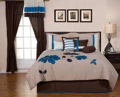 Blue Brown Applique Flower Comforter Set Bed-in-a-bag Queen Size Bedding Blue Comforter Sets, Cheap Bedding Sets, Affordable Bedding, Queen Size Bedding, Brown Comforter, Floral Comforter, Bedroom Sets, Bedroom Decor, Blue Bedroom