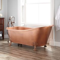 """66""""+Donnelly+Smooth+Copper+Slipper+Clawfoot+Tub+-+Tap+Deck+-+7""""+Deck+Holes"""
