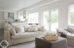 Cozy neutrals make for a relaxing family room next to the backyard White Rooms, Interior Design Services, Family Room, Dining Room, Cozy, Backyard, Furniture, Neutral, Fresh