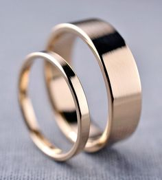 Yellow Gold Wedding Band Set | Here we have a simple pair of wedding bands, just right for th... | Rings
