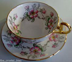 Vintage Royal Grafton ENGLAND Bone China Teacup & Saucer Pink Floral Pattern