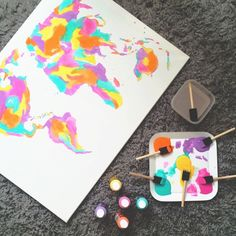 Image via We Heart It #art #boho #colorful #diy #map #spring #world