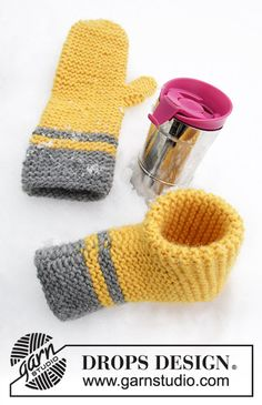 Knitted mitten and beer mitten in DROPS Eskimo. Stripes and garter stitch. Knitted Mittens Pattern, Crochet Mittens, Knitted Gloves, Cute Crochet, Crochet Crafts, Knitting Patterns Free, Free Knitting, Drops Design, Knitting Projects