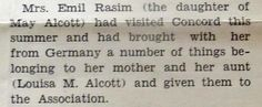 May's daughter Lulu visited Concord in 1935.