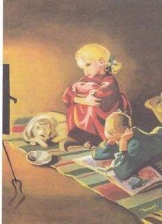 Martta Wendelin was a Finnish artist whose work was widely used to illustrate fairy tales and books, postcards, school books, magazine and book covers. Girl Face Drawing, Drawing S, Classic Literature, Children's Literature, Art Nouveau, Art Deco, Childhood Stories, Easter Art, Inspiration Art