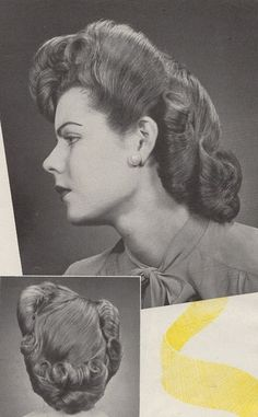 """Spring coiffure"". American Hairdresser magazine, 1944 hairstyle 40s swing era updo vintage fashion style"