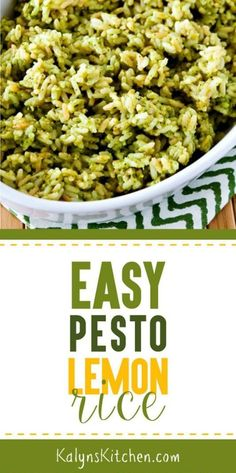 This Easy Pesto Lemon Rice is a perfect quick side dish that's gluten-free and meatless and if you use low-glycemic Uncle Ben's Rice this will be South Beach Diet friendly. And if there's some fresh h Sprout Recipes, Veggie Recipes, Vegetarian Recipes, Cooking Recipes, Healthy Recipes, What's Cooking, Kitchen Recipes, Free Recipes, Pesto Dishes