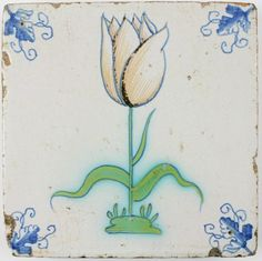 Antique Dutch Delft tile with a polychrome Tulip, 17th century