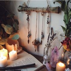 Altar idea- love the hanging branch with crystals Altar Particular, Rooms Ideas, Green Witchcraft, Boho Home, Ideias Diy, Meditation Space, Spiritual Meditation, Witch Aesthetic, Aesthetic Dark