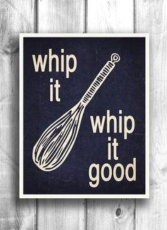 Whip It   Kitchen Print, Typography Poster, Digital Print, Kitchen Art, Wall Decor, teal, cream  #KitchenDecor