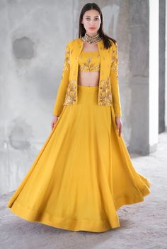 Shop Prathyusha Garimella Mustard satin cotton sequin & zari work lehenga with crop top & jacket , Exclusive Indian Designer Latest Collections Available at Aza Fashions Outfit Designer, Indian Designer Outfits, Designer Dresses, Indian Gowns Dresses, Indian Fashion Dresses, Dress Indian Style, Lehenga Choli Designs, Indian Wedding Outfits, Indian Outfits