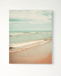 """A dreamy sea photograph printed as a standout! Print is mounted on thick, lightweight ¾"""" white backing. An easy, unique option that requires no"""