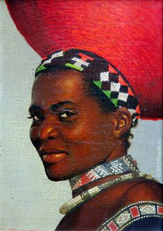 'Zulu' from Girls of Africa series by artist Stanislav Plutenko   The artist's signature method — a mixed technique employing oil, tempera, acrylic, watercolour — skilfully supplemented with airbrushing and finest glazing with clear paints.