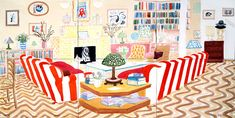 DAVID HOCKNEY - Interior With Lamp Watercolor on paper 6 sheets , 2003