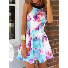 Sexy Round Collar Sleeveless Floral Print Women's Dress