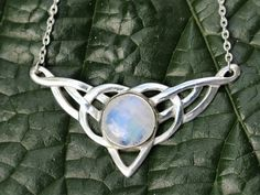 Rainbow Moonstone and Sterling Silver Celtic Necklace
