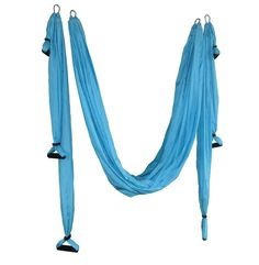 "HappyPie Yoga Swing Hammock Flying Inversion Sling (Sky Blue). Made of Polyester Taffeta, Size: about 106"" X 57"", Load capacity: 300 lbs. Improve your back bends: when you practice passive, inverted backbends on yoga trapeze, you can hold yoga backbend poses much longer without fatigue. Relieve back pain:A long yoga cloth in the middle, the complete set of 3 training belts with 3 foam handles in both sides, and 4 independent hooks can be hung in the ceiling or wall, inversion therapy is..."
