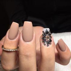 Nude + Black Bling Square Tip Nails. Gorgeous. #nail #nailart