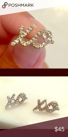 Kate Spade XO earrings Selling Kate Spade gold xo earrings! Gold with diamonds, beautiful stud earring. kate spade Jewelry Earrings