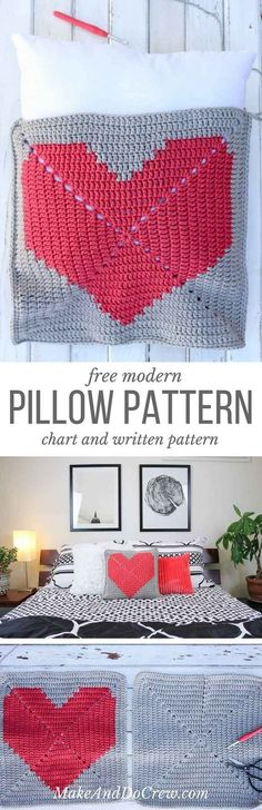 This free crochet pillow pattern with a modern heart makes a perfect DIY housewarming dorm-warming gift idea. Square cushion pattern includes written instructions, photo tutorial and a chart.   http://MakeAndDoCrew.com #crochetpillow #diypillowcase #pillowcover #freecrochetpattern