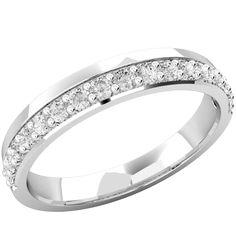 A beautiful offset ladies diamond set wedding ring in 18ct white gold