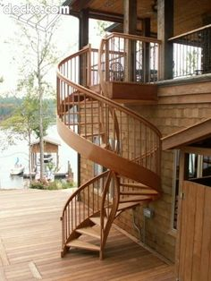 Spiral staircase for upper deck to lower deck.