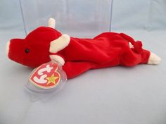 1995 Ty Beanie Baby Snort a Red Bull - Rare Retired Beenie Babies, Original Beanie Babies, Ty Beanie, Beanies, Red Bull, The Originals, Holiday Decor, Baby, Closet