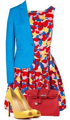 """""""Blue, Yellow, and Red"""" by fashion-766 ❤ liked on Polyvore"""