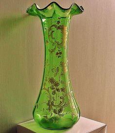 JUGENDSTIL Art Nouveau VASE 1890s HANDPAINTED Tall ROCOCO Gilded GLASS Floriform