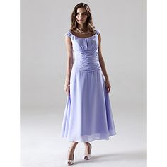 Lanting Bride Tea-length Chiffon Bridesmaid Dress A-line / Princess Off-the-shoulder Plus Size / Petite with Ruching – USD $ 69.99