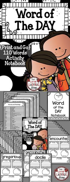 Word of the Day | Word of the Day | Word of the Week | Word Study | Vocabulary | Print and GO  Word of the Day is a Fantastic way to GROW your students vocabulary and enrich their writing. This PRINT and GO packet contains 110 Words to use daily or weekly in your word study. These words are perfect for a quick study for your students in Grades 3-6.