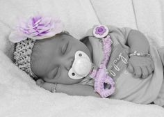 Adorable 2 Ribbon Matching Pacifier clip, love this picture of my niece.  https://www.etsy.com/listing/88068447/purple-flower-2-matching-ribbon-pacifier