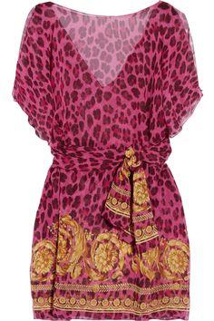 Versace|Cafetan en mousseline à imprimé léopard|NET-A-PORTER.COM